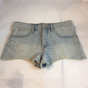 High Waisted Baggy Cut Off Light Blue Denim Shorts